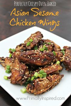 Crispy Oven Baked Chicken Wings: Asian Sesame Flavor | PrimallyInspired.com