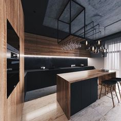 32 Amazing Modern Wood Kitchen Design Ideas - Unless you plan to spend the rest of your life in your current home if you are planning a kitchen makeover then best advice is not only to think about. Kitchen Room Design, Modern Kitchen Design, Home Decor Kitchen, Interior Design Kitchen, Kitchen Designs, Loft Kitchen, Apartment Kitchen, Apartment Interior, Kitchen Ideas