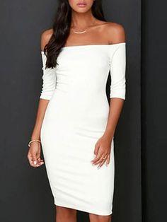 White Off Shoulder Bodycon Dress