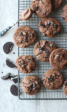 Oreo & Nutella -keksit | Maku Nutella Cookies, Chocolate Chunk Cookies, No Bake Cookies, Chip Cookies, Healthy Cookie Recipes, Baking Recipes, Dessert Recipes, Pan Nube, Delicious Desserts