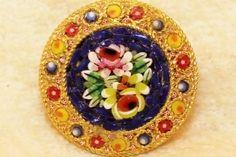 antique venetian micro mosaic   Italian Style Micro Mosaic Floral Rose Brooch Pin Vintage