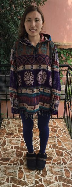 Ethnic Hoodie purple white and yellow by HimalayanCollective