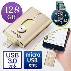 iPhone・iPad USBメモリ 128GB(USB3.0・Lightning/microUSB対応・MFi認証・iStickPro 3.0・ゴールド)