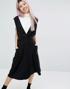 Image 1 ofMonki Wrap Front Midi Dress