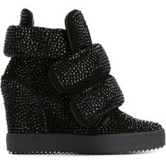 Giuseppe Zanotti Design Hi-Top Sneakers With Rhinestones ($950) ❤ liked on Polyvore featuring shoes, sneakers, black, black high top shoes, giuseppe zanotti sneakers, black rhinestone shoes, black shoes and velcro shoes