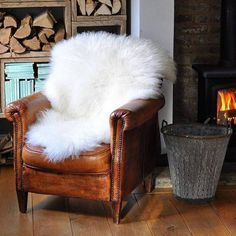 Did this in my bedroom.  My white leather chair was seeing some wear on the leather arms and seat.  I threw a white sheepskin on it and viola'.  Looks fab and no one knows the difference.-MD