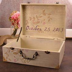 Champagne suitcase card box for 2014 beach wedding, floral suitcase card holder www.dreamyweddingideas.com
