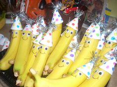 Healthy birthday snack for school. Handmade party hats, googly eyes, and a sharpie! Kids loved them!