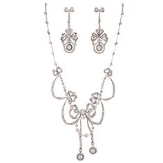 $65,000 Extraordinary Edwardian Diamond Platinum Suite | From a unique collection of vintage more necklaces at http://www.1stdibs.com/necklaces/more-necklaces/