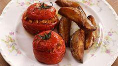 Vegan Greek Baked Stuffed Tomatoes