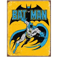 This superhero metal sign adds vintage appeal to your comic book or game room decor. Striking lithographed tin sign is pre-drilled and ready to hang. A perfect geek gift. Measures 12.5