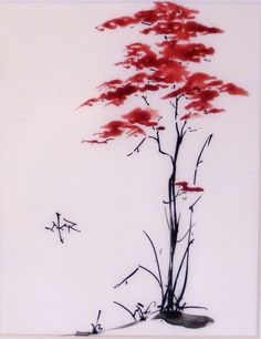 Julie Keaten-Reed - sumi-e 'Red Tree' Japanese Watercolor, Japanese Painting, Chinese Painting, Watercolor Paintings, Sumi E Painting, Art Chinois, Art Asiatique, Samurai Art, China Art
