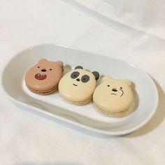 aesthetic food we bare bears grizzly panda ice bear macarons Cute Desserts, Dessert Recipes, Dessert Healthy, Healthy Snacks, Cute Baking, Good Food, Yummy Food, Tasty, Cafe Food