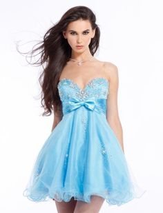 short prom dresses with straps | Strapless Short/MIni Beaded Organza Satin Prom Gown Evening Dresses