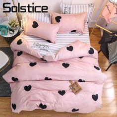 American style bedding set AB side bed set super king size bed linens pink duvet cover set heart home bedding women bedclothes - affordable home livingroom farmhouse decoration ideas Bed Duvet Covers, Duvet Cover Sets, King Size Bed Covers, Comforter Cover, Cama Super King Size, Baby Pillow Set, Throw Pillow, King Size Bed Linen, Side Bed