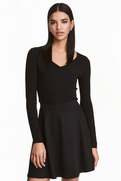 Rib-knit jumper - Black - Ladies | H&M GB