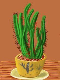 A David Hockney iPad cactus Ipad Drawings, Ipad Art, Ipad Painting, David Hockney Paintings, Drawings, Cactus Art, Painting, Fairytale Illustration, Pop Art Movement