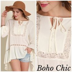 White boho tunic Size small white boho tunic with peasant style button Tye detail . Ruffle hemline with high low back . Great with shorts , leggings or skinny jeans . Beautiful in Person . Nwt Vivacouture Tops