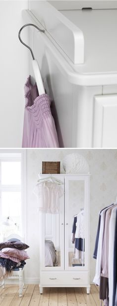No more frustrating moments of trying to hang your outfit off the side of your furniture, only to have it slide off onto the floor!  The TYYSEDAL wardrobe has a groove along the top molding that makes it easy to hang your clothes on the outside of the wardrobe.