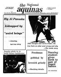 """The Aquinas (""""The National Aquinas"""") - April 2, 1986. April Fools' Edition"""