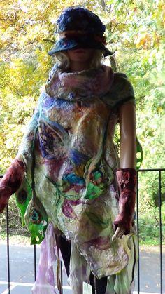 Fashion Felt Shawl Skirt Scarf Organic OOAK Handmade by rafaelart