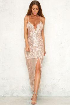 Disco Ball Maxi Dress Rose Gold