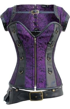 Gorgeous purple and black Steampunk Corset, Jacket, and Belt set - a great set to base your steampunk outfit around. You could add either a purple or black bustle skirt, long flowing hair and a black mini top hat to your head and you have the perfect steampunk outfit.
