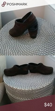 Danskos suede chocolate brown clogs Danskos sweet chocolate brown clogs size 6 and a half black bottoms in good condition worn a few times weather protected extremely comfortable good for work long days on your feet danskos Shoes Mules & Clogs