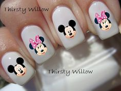 Mickey et Minnie Mouse Pink Bow Nail Stickers par ThirstyWillow