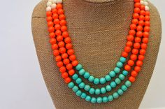 Mint Green and Orange Necklace / Turquoise and Orange by BevinBold, $28.00