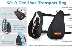 Shoe transport bag. Attaches to a regular backpack. I needed this today.