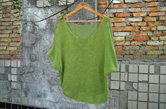 Dusty Green Oversized Handknit Sweater Loose Sweater Handmade Sweater Cottonblend top Womens Sweater Handknit pullover TaitallasHandmade
