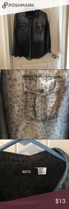 Cheetah print denim shirt Like new Express Tops Button Down Shirts