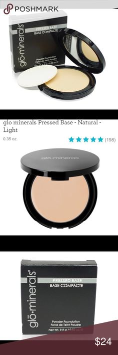 Glo Minerals powder Foundation Natural light Glo minerals Pressed Base uses naturally pigmented minerals to help disguise blemishes, redness, dark spots and more. Vitamins A, C and E, plus green tea extract help protect skin against sun damage and other environmental stressors. With its fine, triple-milled formula, this pressed powder foundation allows you to achieve sheer to full coverage.  Free of parabens, fragrance, dyes and gluten Helps you achieve sheer to full coverage Provides a…