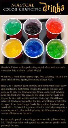 Magical colour changing drinks. How to make their heads explode. ;)