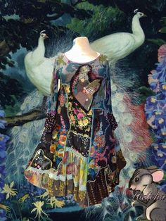 Beautiful  long Hippie  folk colored dress by lodicha on Etsy