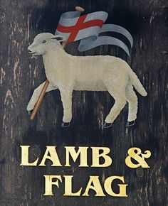 Lamb & Flag, Oxford, Handpainted pub sign, England