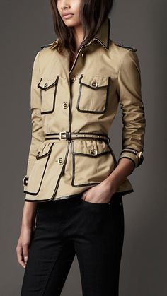 COTTON GABARDINE LEATHER DETAIL JACKET    $1,595.00