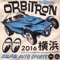"""houseindustries Dusted off our Ed """"BIG DADDY"""" Roth Orbirtron Showcar artwork for our friends at Mooneyes and @daveshuten. Dave took the restored #orbitron to The @mooneyesjp Yokohama Hot Rod Custom Show. Lucky attendees can score this shirt for FREE at the show this weekend. Arigato Shige @ssss4199 @artofcoop @a_kahan @galpinautosports & The Large Father( #edroth )"""