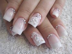 I am unfolding before you 10 inspiring wedding nail art designs, ideas, trends & stickers that would give inspiration to all those girls who are going to tie knot. Nail Art Designs, Diamond Nail Designs, French Manicure Designs, Diamond Nails, French Tip Nails, French Tips, 3d Nail Art, 3d Nails, Cute Nails