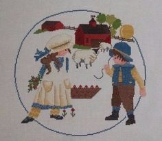 Completed Cross Stitch Country Kids Farm Scene Sheep Garden Barn Balloons 17x17 #Unbranded