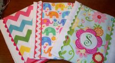 Colorful Burp Cloths made from diapers by Marci Rae