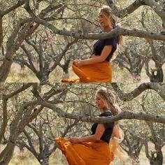 100e6dba894fb Donna Sheridan wearing an orange maxi skirt and dark crop top from Mamma Mia   Here We Go Again!
