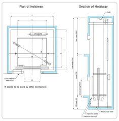 Machine room less mrl elevators elevator for Elevator plan drawing