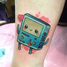 """Tiny little BMO on Jodie this morning.  Thanks!  #tattoo #nofilter #bmo #adventuretime"""