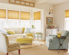 These would be beautiful colors for my future sun room.  Other than the blinds, I want this exact space.