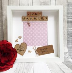 Wedding gift: personalised scrabble photo frame Just