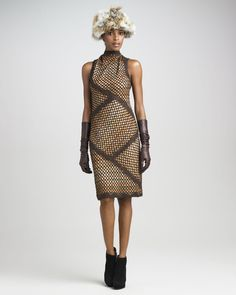 Funnel-Neck Fitted Dress - Missoni (No Peering Through These Windows Fall Winter Casual Medium Patterns Brown Synthetic-blend Day to night Wool/cashmere Sleeveless)