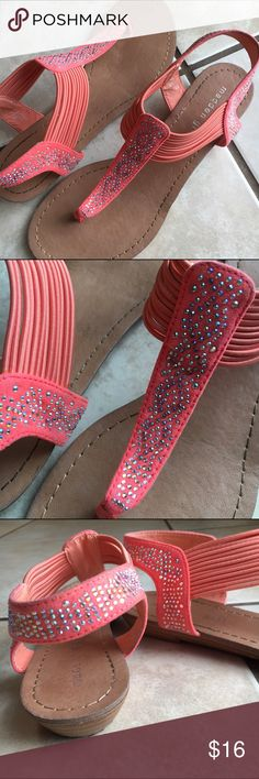 Coral Madden Girl Flat Sandals I SHIP SAME OR NEXT DAY! Like new, worn twice. Beautiful color and design, I just have too many shoes! Elastic around foot, about an inch at heel retail $50 Madden Girl Shoes Sandals