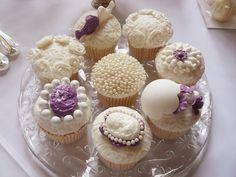 Purple & White Vintage Cupcakes